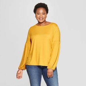 New AVA & VIV Gold Yellow Bishop Sleeve Blouse D8